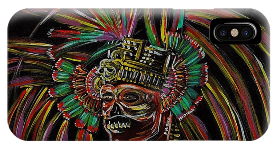 Aztec IPhone X Case featuring the painting Aztec Skull Warrior by Americo Salazar