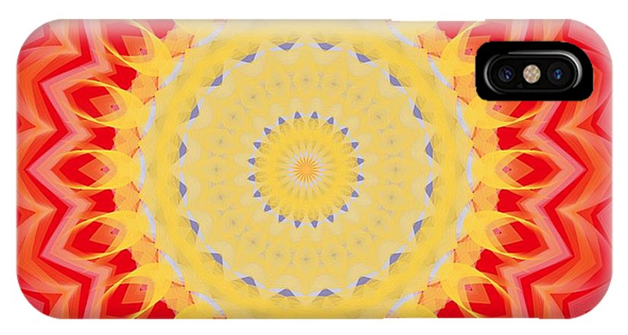 Sunburst IPhone X Case featuring the digital art Aztec Sunburst by Roxy Riou