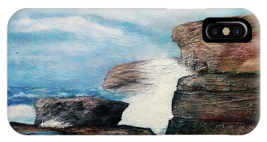 IPhone X Case featuring the painting Azure Window - After by Anthony Camilleri