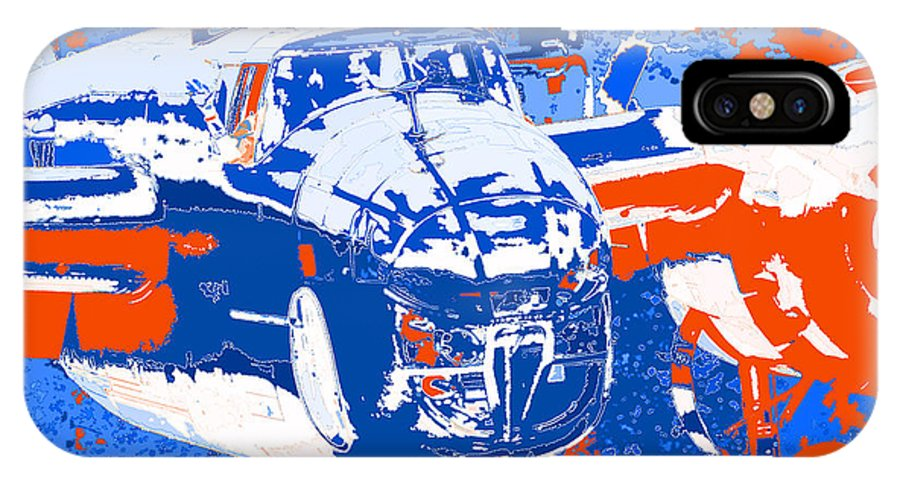 B-25 Blue Red IPhone X Case featuring the digital art B-25 Blue Red by Chris Taggart