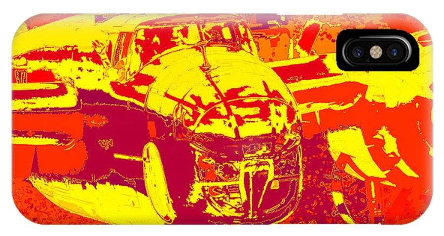 B-25 Red Yellow IPhone X Case featuring the digital art B-25 Red Yellow by Chris Taggart