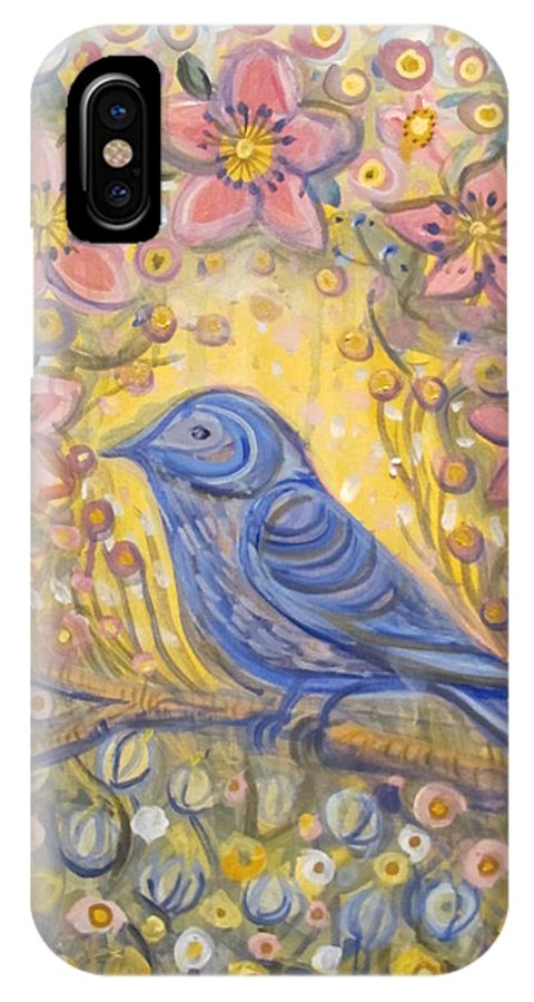 Blue Bird IPhone X Case featuring the painting Baby Blue Bird Garden by Juliana Lachance
