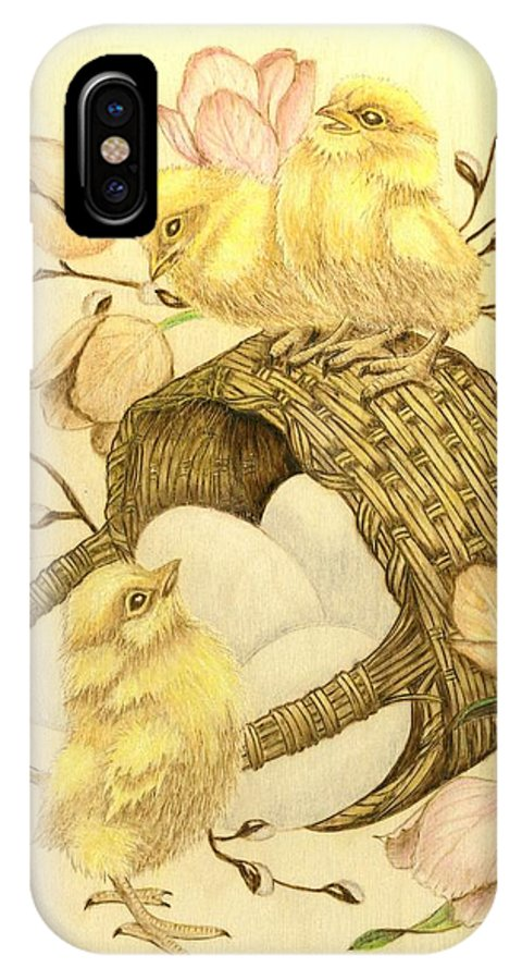 Chicks IPhone X Case featuring the pyrography Baby Chicks by Danette Smith