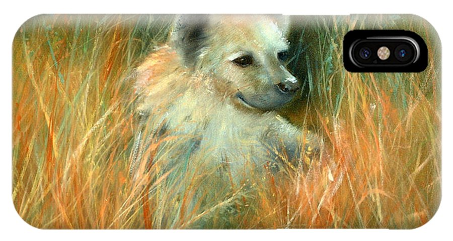 Jungle IPhone X Case featuring the painting Baby Hyena by Sally Seago