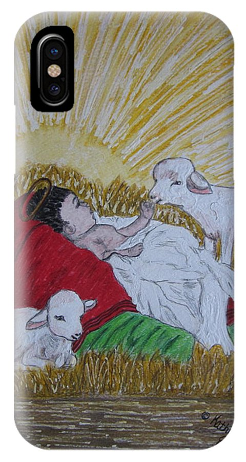 Saviour IPhone X Case featuring the painting Baby Jesus At Birth by Kathy Marrs Chandler