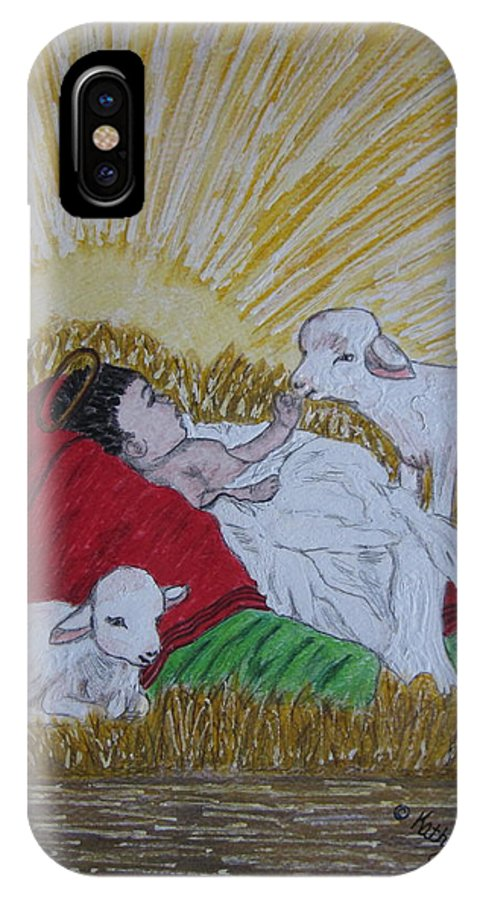 Saviour IPhone X / XS Case featuring the painting Baby Jesus At Birth by Kathy Marrs Chandler