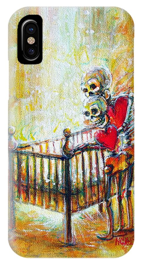 Skeletons IPhone X Case featuring the painting Baby Love by Heather Calderon