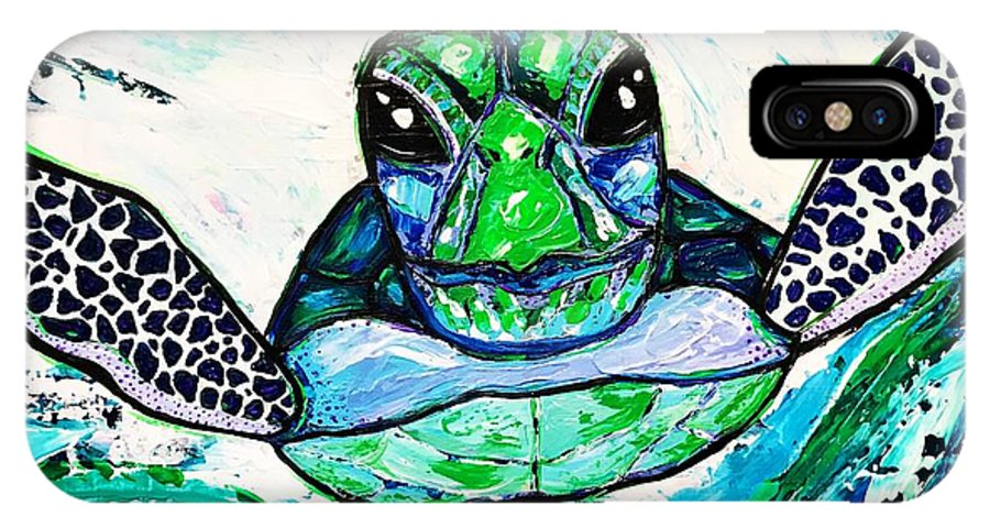 Sea Turtle IPhone X Case featuring the painting Baby Sea Turtle by Dana Sardano