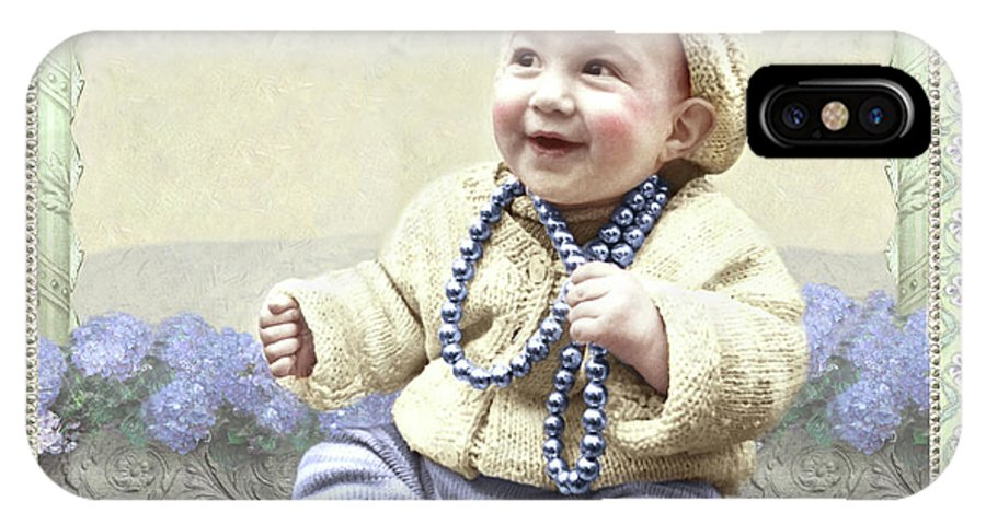 IPhone X Case featuring the photograph Baby Wears Beads by Adele Aron Greenspun