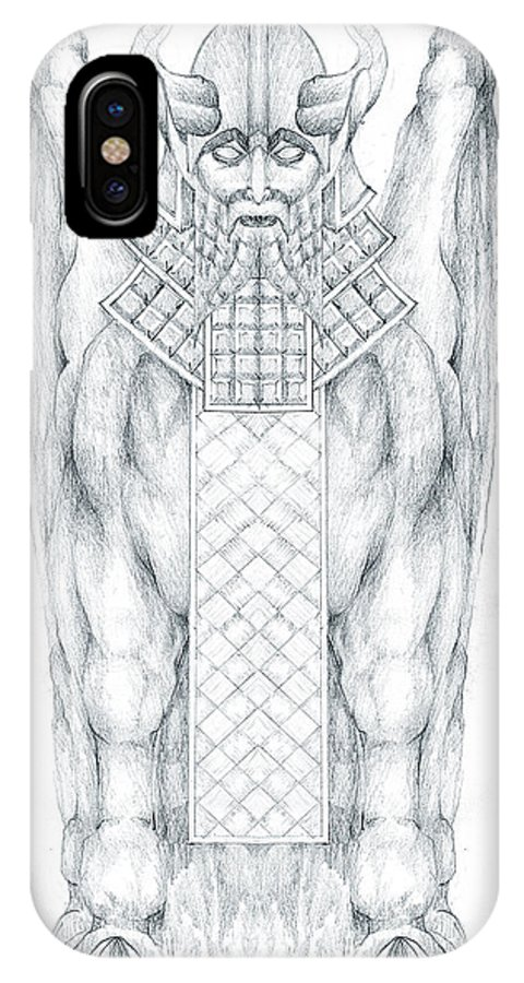 Babylonian IPhone Case featuring the drawing Babylonian Sphinx Lamassu by Curtiss Shaffer