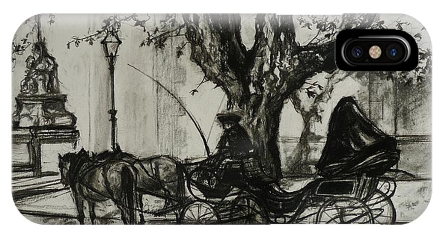 Horse And Carriage IPhone X Case featuring the drawing Back In Time by Veronica Coulston