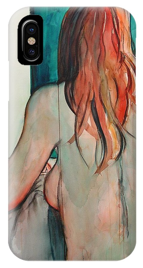 Nude IPhone X Case featuring the painting Back View by Marlene Gremillion