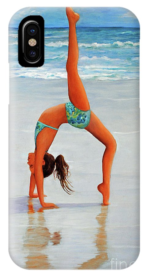 Beach IPhone X Case featuring the painting Backflip At The Beach by Carolyn Shireman