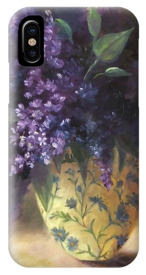 Lilac Still Life IPhone X Case featuring the painting Backlit Bouquet by Ruth Stromswold