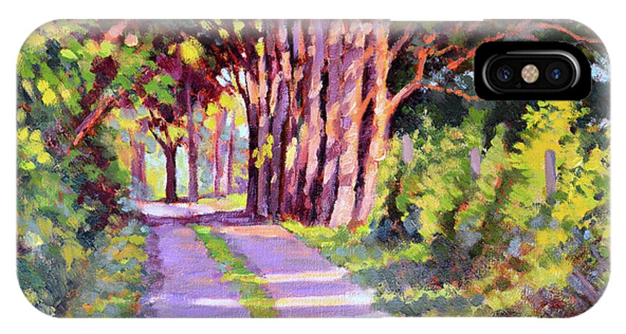 Road IPhone X Case featuring the painting Backroad Canopy by Keith Burgess