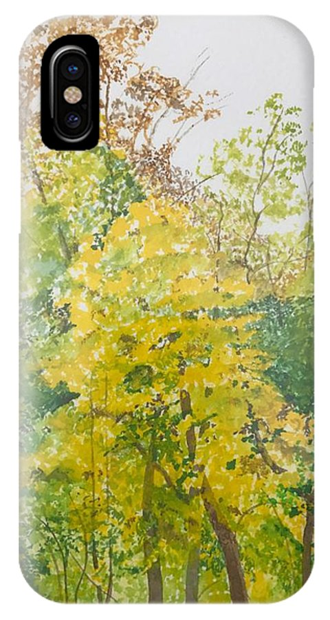 Autumn IPhone X Case featuring the painting Backyard by Leah Tomaino