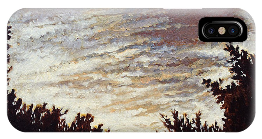 Landscape IPhone X Case featuring the painting Backyard Sunset by Todd Blanchard