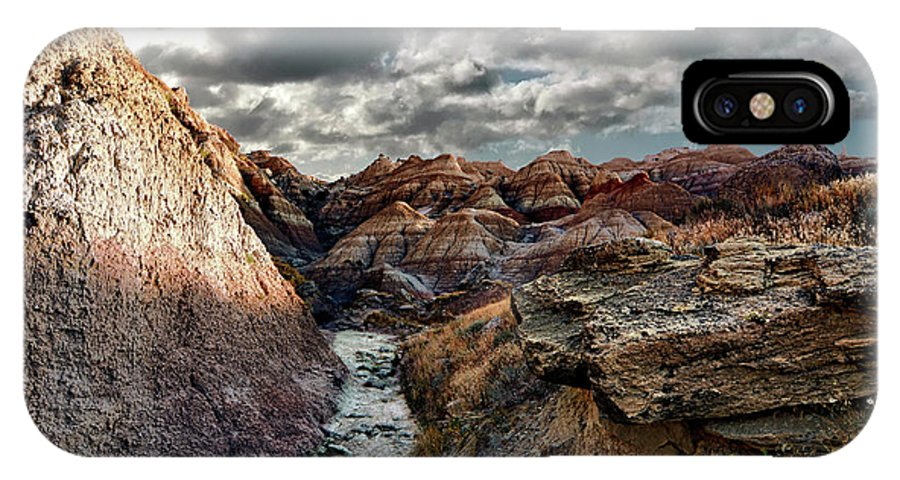 Badlands IPhone X Case featuring the photograph Badlands Clouds by Bonfire Photography