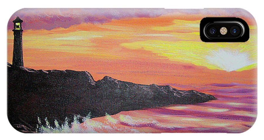 Seascape IPhone X Case featuring the painting Bahia At Sunset by Marco Morales