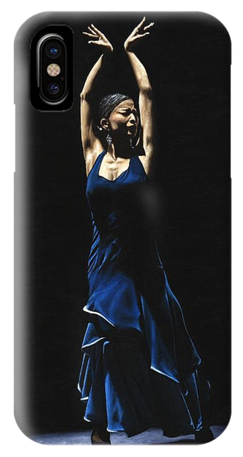 Flamenco IPhone X Case featuring the painting Bailarina A Solas Del Flamenco by Richard Young