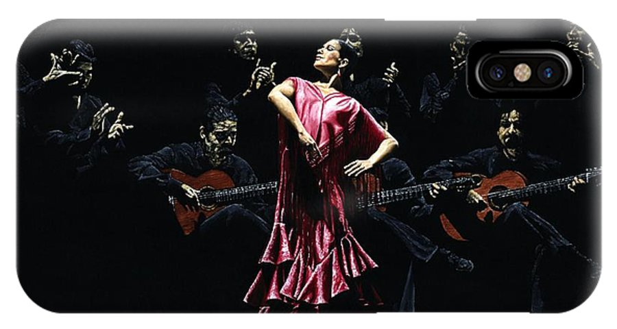 Flamenco IPhone X Case featuring the painting Bailarina Orgullosa Del Flamenco by Richard Young