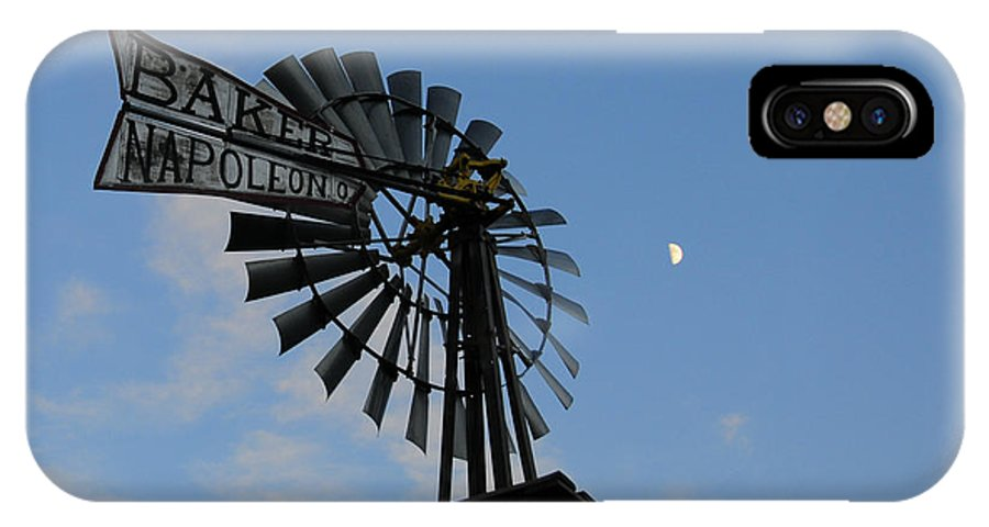 Windmill IPhone X Case featuring the photograph Baker Napoleon And The Moon by David Arment