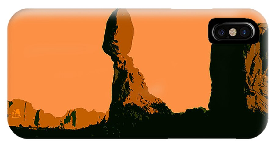 Balance Rock IPhone X Case featuring the painting Balance Rock by David Lee Thompson