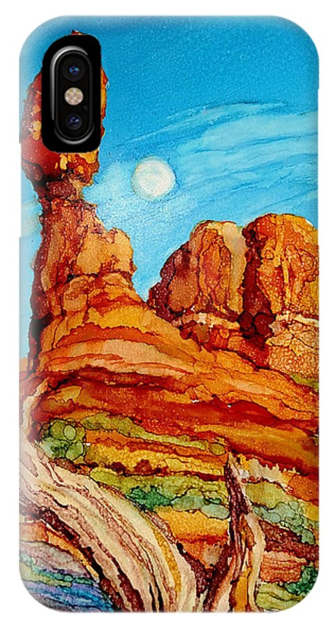Arches National Park IPhone X / XS Case featuring the painting Balanced Rock by Diane Bay