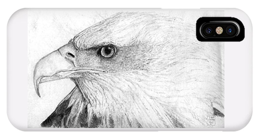 Pencil Drawing IPhone X Case featuring the drawing Bald Eagle Profile by Lucien Van Oosten