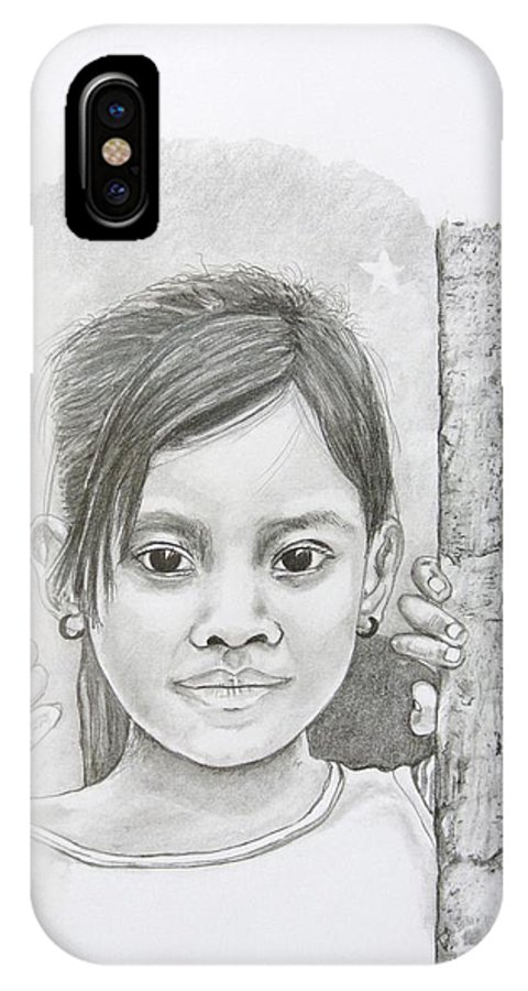 Bali IPhone X Case featuring the drawing Bali Girl by Gregory Hayes
