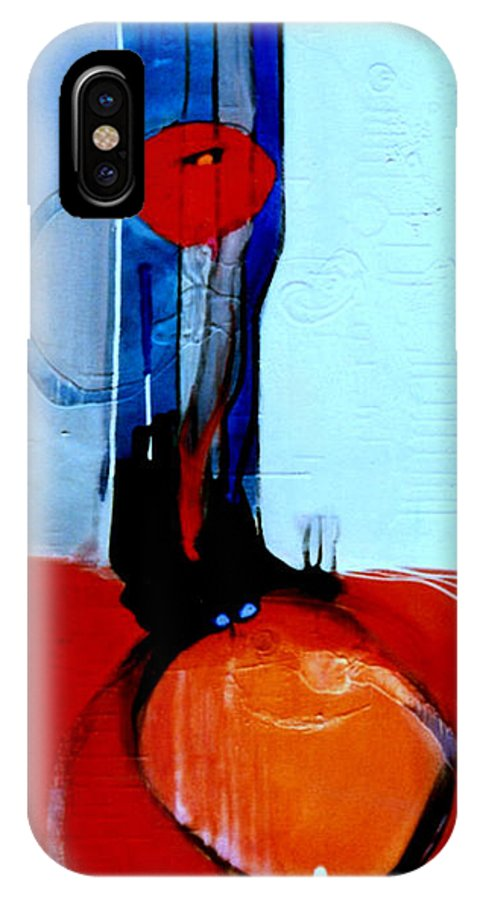 Abstract IPhone Case featuring the painting Ball And Chain Outcome by Marlene Burns