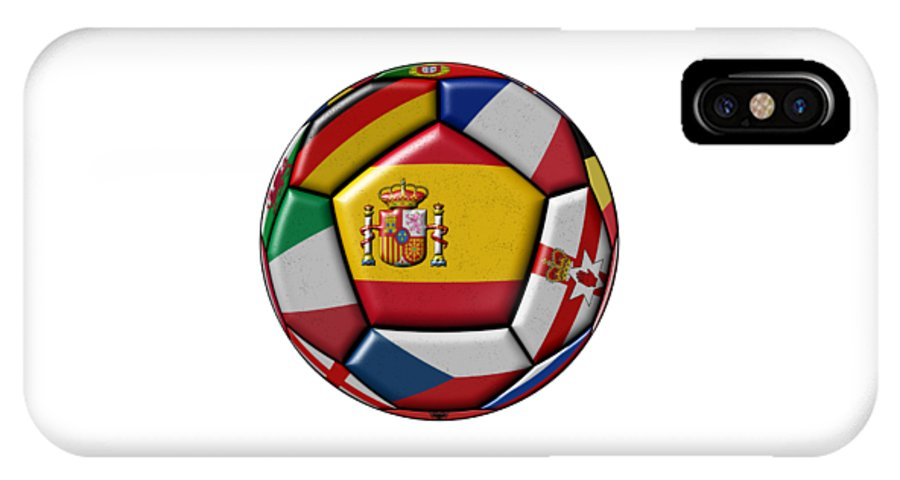 Europe IPhone X Case featuring the digital art Ball With Flag Of Spain In The Center by Michal Boubin