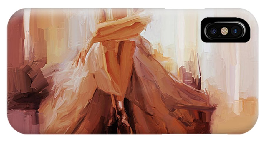 Ballerina IPhone X Case featuring the painting Ballerina Dancer Sitting On The Floor 01 by Gull G