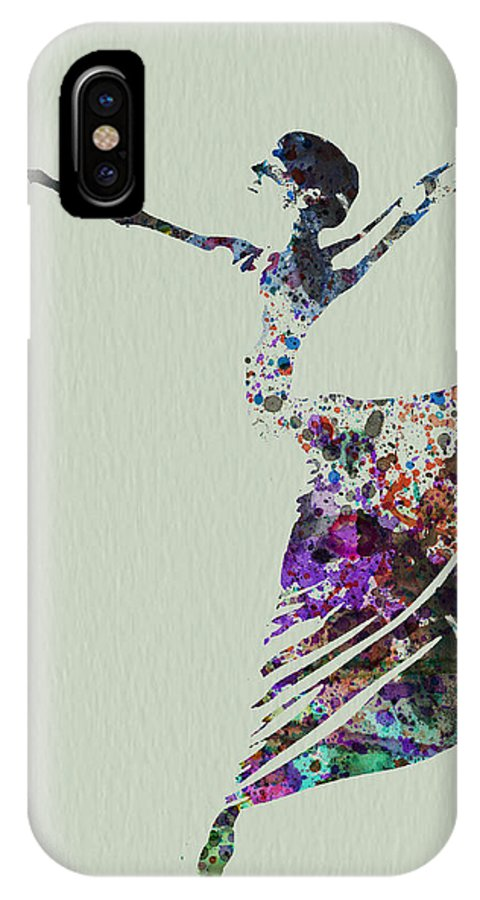 IPhone X Case featuring the painting Ballerina Dancing Watercolor by Naxart Studio