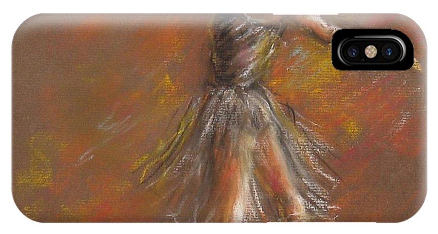 Ballet Dancer IPhone X / XS Case featuring the pastel Ballet Dancer by Bonnie Goedecke