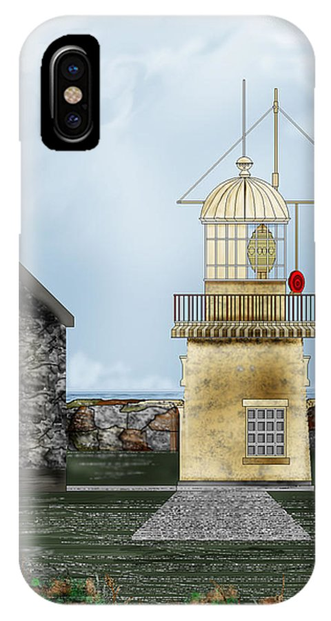 Lighthouse IPhone X / XS Case featuring the painting Ballinacourty Lighthouse At Waterford Ireland by Anne Norskog