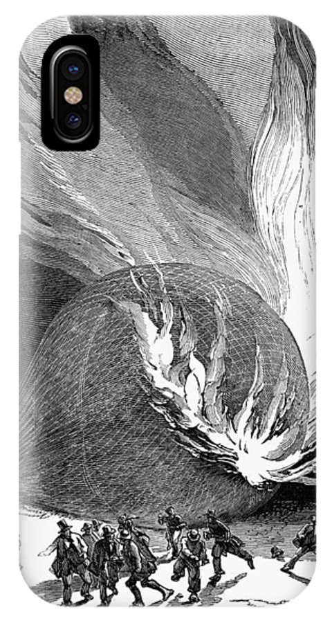 1850 IPhone X Case featuring the photograph Balloon Accident, 1850 by Granger