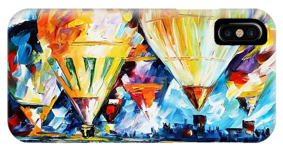 Afremov IPhone X Case featuring the painting Balloon Festival New by Leonid Afremov