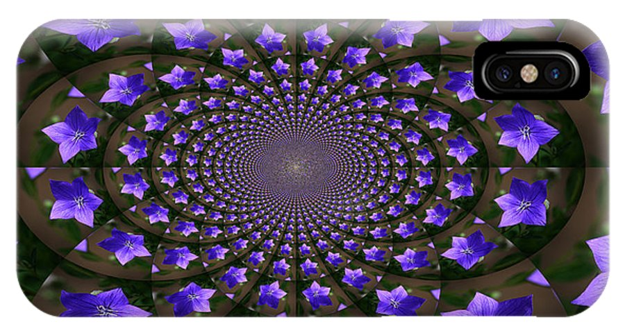 Balloon Flower IPhone X Case featuring the photograph Balloon Flower Kaleidoscope by Teresa Mucha