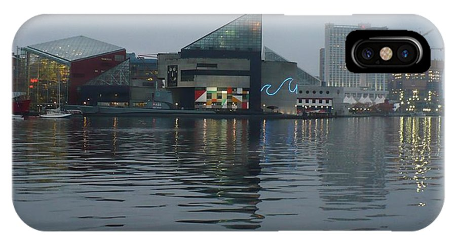 Baltimore IPhone X Case featuring the photograph Baltimore Harbor Reflection by Carol Groenen