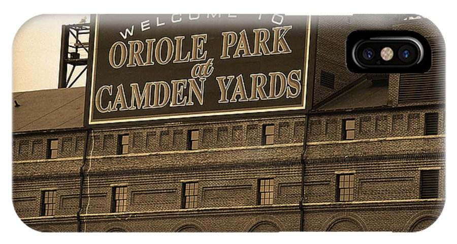 America IPhone X Case featuring the photograph Baltimore Orioles Park At Camden Yards Sepia by Frank Romeo