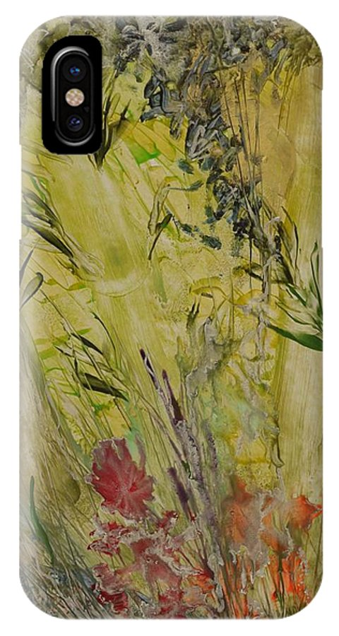 Bamboo IPhone X Case featuring the painting Bamboo In The Forest by Heather Hennick