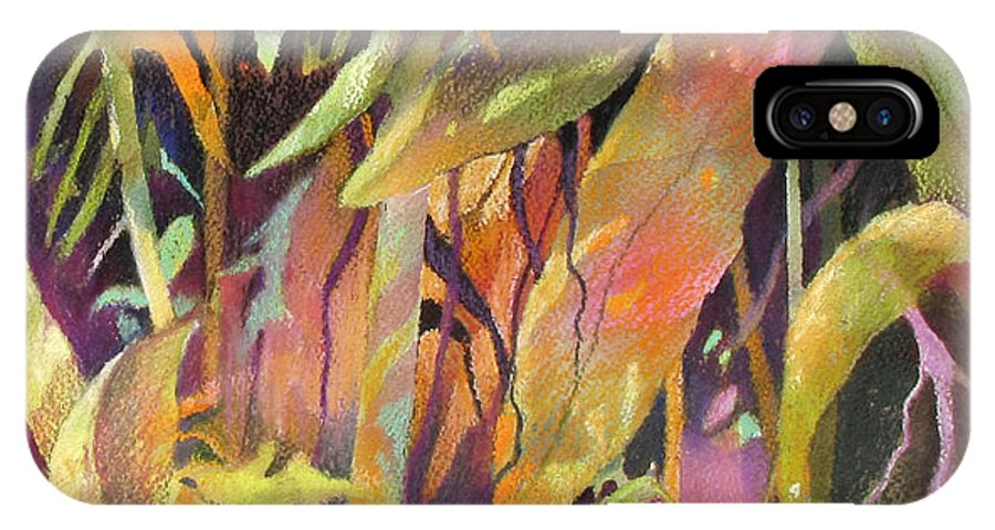 Abstract IPhone X Case featuring the painting Bamboo Patterns by Rae Andrews