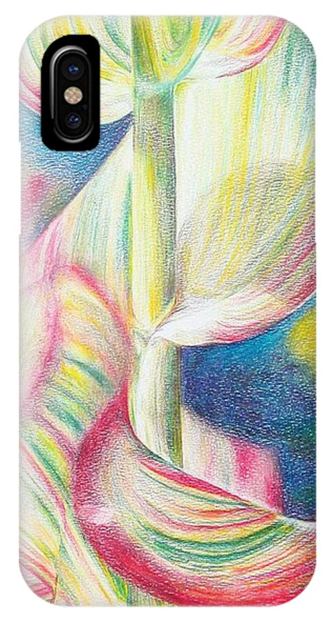 Flower IPhone X Case featuring the painting Bambou by Muriel Dolemieux