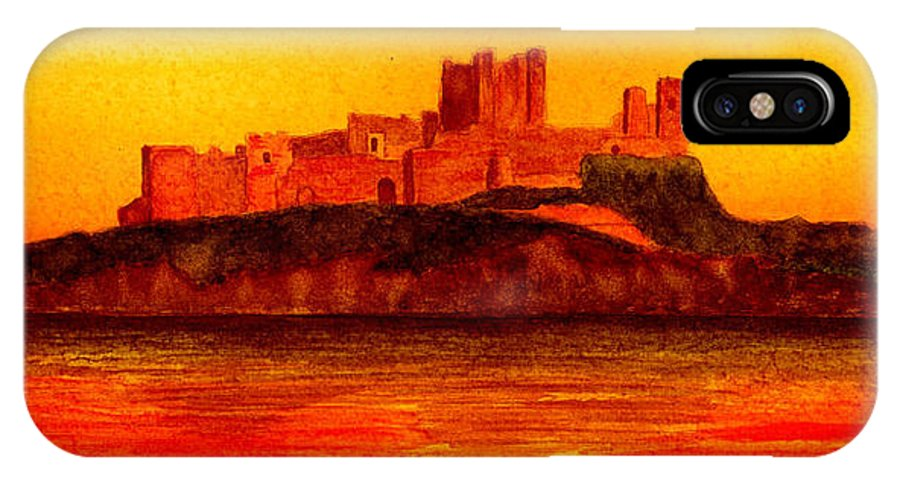 Castle IPhone X Case featuring the painting Bamburgh Castle by Michael Vigliotti
