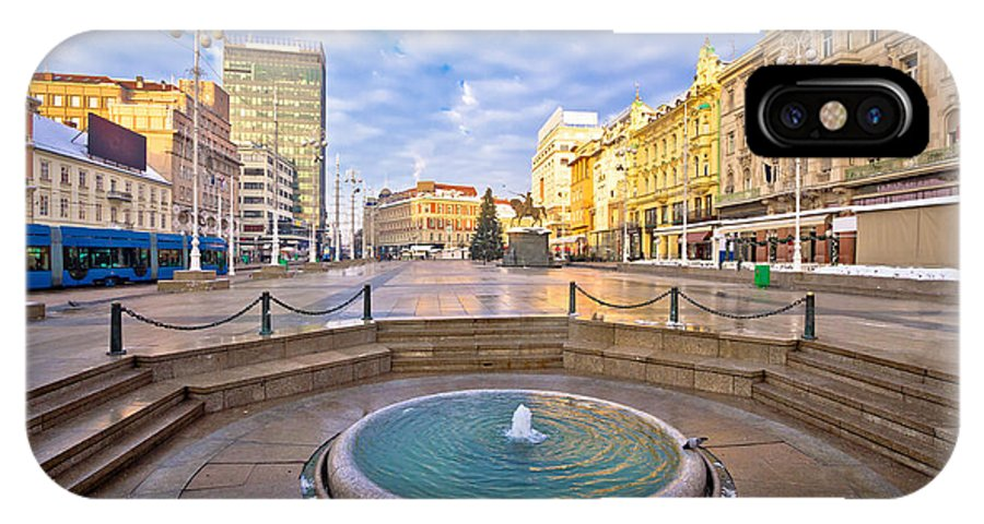 Croatia IPhone X / XS Case featuring the photograph Ban Jelacic Square In Zagreb Advent View by Brch Photography