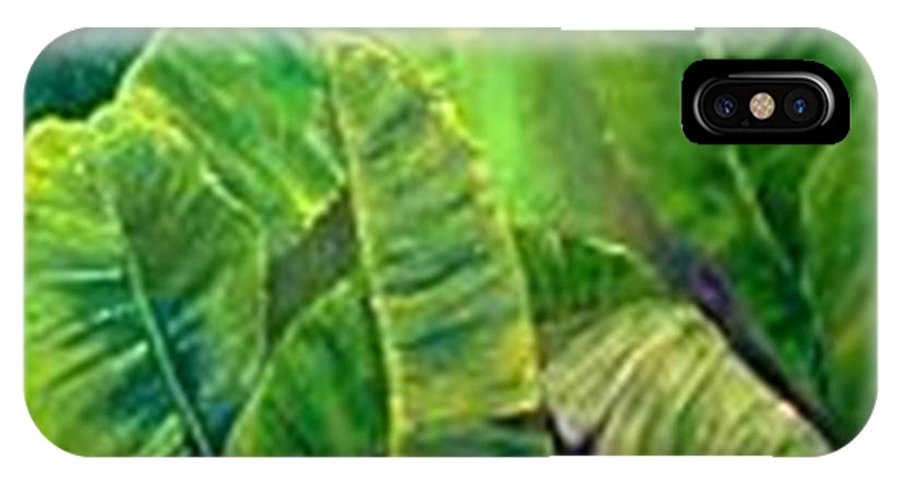 IPhone X Case featuring the painting Banana Leaves by Carol P Kingsley