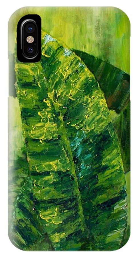IPhone X Case featuring the painting Banana Leaves II by Carol P Kingsley