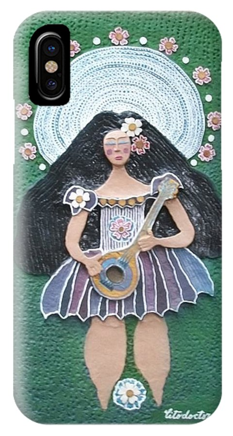 Handmade Papier Artwork IPhone X Case featuring the mixed media Banjo Lady by Otil Rotcod