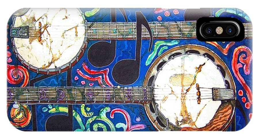 Banjo IPhone X Case featuring the painting Banjos - Bordered by Sue Duda